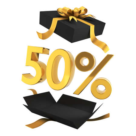 Gift discounts. Discount in a black gift box with gold symbols and ribbon. Holiday Sale Banner sign in department store, 50% OFF Special Offer Ad. Discount Promotion Banner.Price Discount Offer. 3d rendered