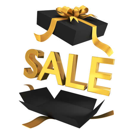 Sale. Sale in black gift box with gold symbols and ribbon. Promotional banner for a department store holiday sale. 3D rendering. Isolated on white background.