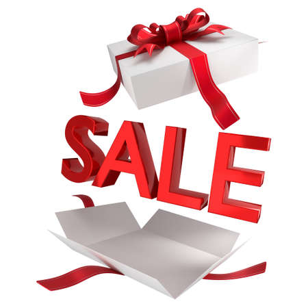 Sale. Sale in white gift box with red symbols and ribbon. Promotional banner for a department store holiday sale. 3D rendering. Isolated on white background. Standard-Bild