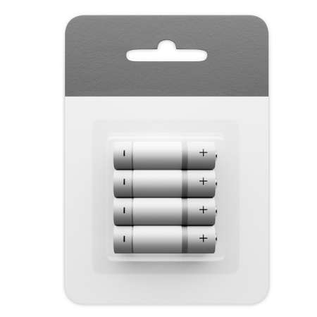 Set of AA batteries on a white background. Place batteries in a cardboard box. 3d rendered. Standard-Bild