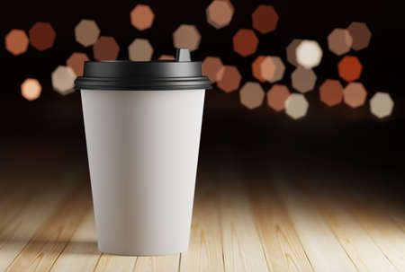 Paper mug mockup with coffee on a wooden table and bokeh lights. 3d rendering