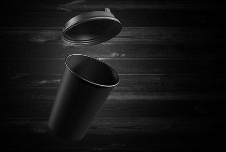 Mockup of a black paper mug on a wooden background. 3d rendering Standard-Bild