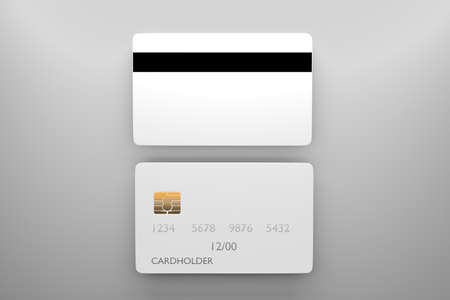 Bank card mockup with back side. Blank credit card template for your design. 3D rendering.