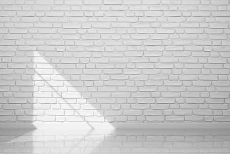 Template for your design. Blank piece of white painted brick wall. 3d rendered