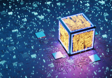 Quantum processor. Conceptual central processing unit. Neural network training. Blockchain technology. AI (Artificial Intelligence) concept, 3D rendering, abstract image visual. 3D rendered