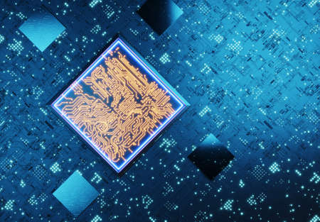 Conceptual central processing unit. Neural network training. Blockchain technology concept. Quantum compute. AI (Artificial Intelligence) concept, 3D rendering, abstract image visual. 3D rendered Standard-Bild