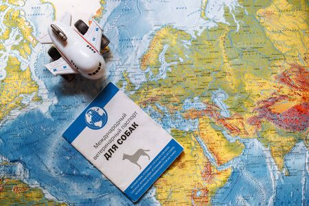 international veterinary certificate for dog and a little aircraft on the map, travel with a dog Редакционное