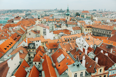 Prague, Czech Republic - 04 02 2013: Architecture, buildings and landmark. Top view of an old town tiled roof