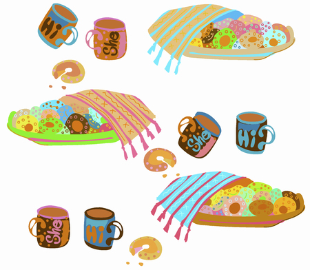 Vector image of a large plate of delicious donuts and a cup of coffee, a family breakfast