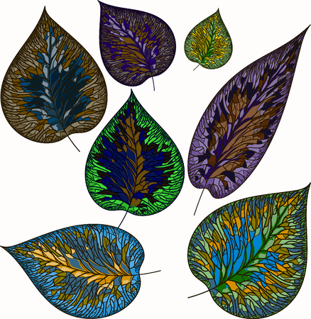 Vector image leaves of plants of different colors, the effect of stained glass Ilustracja