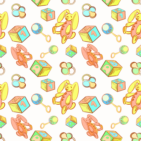 The seamless pattern of accessories and toys for a newborn boy or girl, for the design of gifts, decorating childrens things Illustration