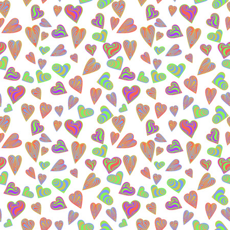 Design for February 14 vector image and seamless pattern, multi-colored hearts with inscriptions for girl and guy, on a transparent background. Ilustração
