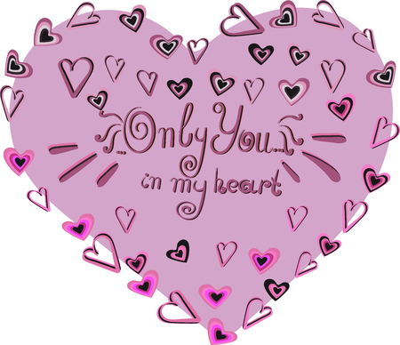 Vector image and seamless pattern for design 14 February, Multi-colored hearts with inscriptions for girl and guy, on a transparent background Illustration