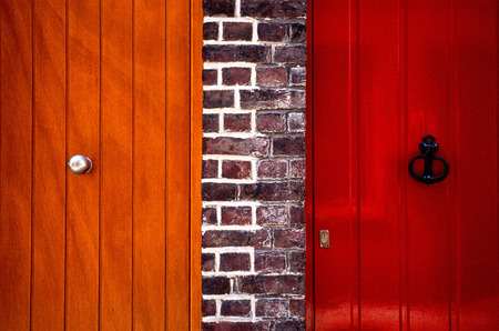 Colorful doors in a brick wall