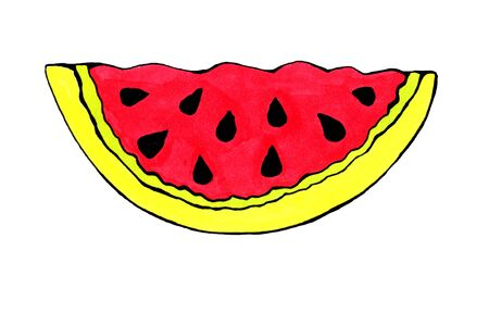 A juicy slice watermelon. Drawn with a marker. Isolated on white background. Print on clothes. Sticker.Menu for the cafe.