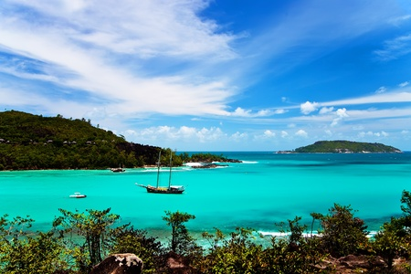 Turquoise water in Port Launay, Seychelles Islands