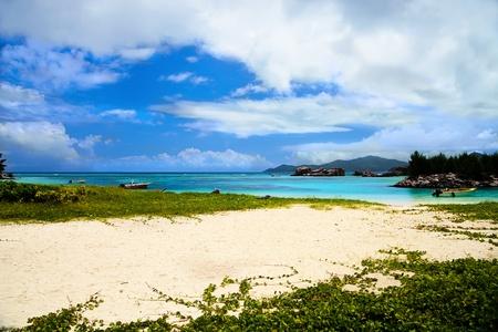 seychelles: Beautiful Anse La Reunion, La Digue, Seychelles Islands Stock Photo