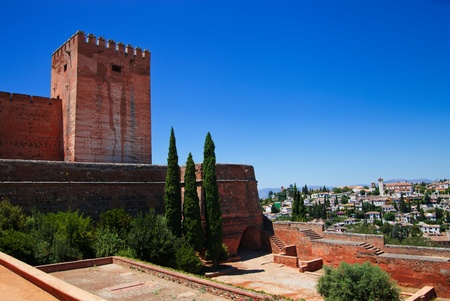 of homage: Tower of Homage, Alcazaba, Alhambra Palace with city view of Granada Editorial