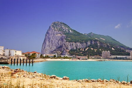 Gibraltar with view of beach and port Stock Photo