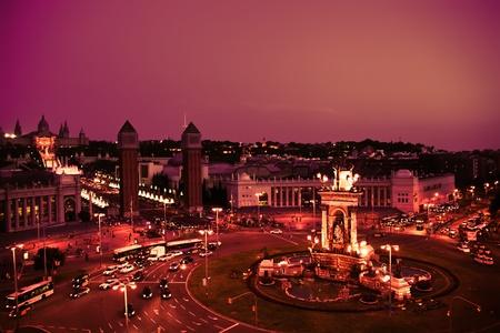 Nacht Blick auf H�gel Montjuic und Torres venecianas