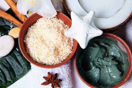 Organic products for bath - mud mask, coconut and spices Stock Photo