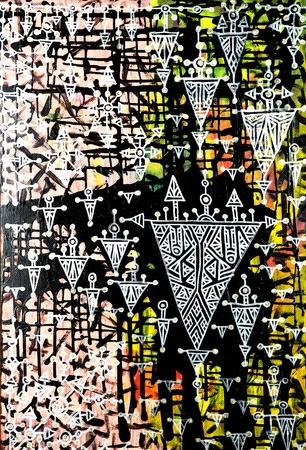 Abstract handpainted artwork, geometrical print Stock Photo