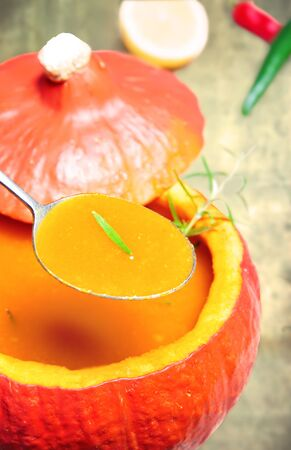 Pumpkin soup in pumpkin vegetable photo