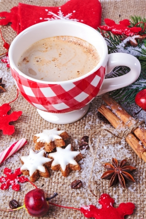 christmas decoration in vintage style, cinnamon stars with checked cup of cappuchino and spices