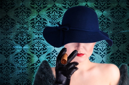 grange: Glamour photo in vinatge style, mysterious woman with hat and cigar