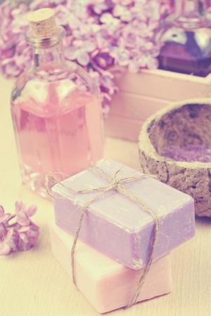 Soap, pink essential oil, lilac, bath salt photo