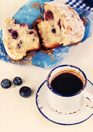 Blueberries muffins with coffee close up Stock Photo - 13519265