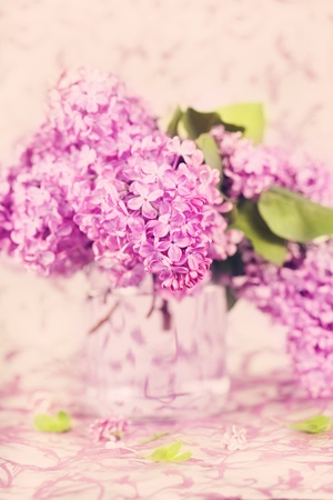 Fresh blossom lilac in a vase photo