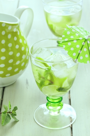 Mojito party cocktails on a wooden background Stock Photo