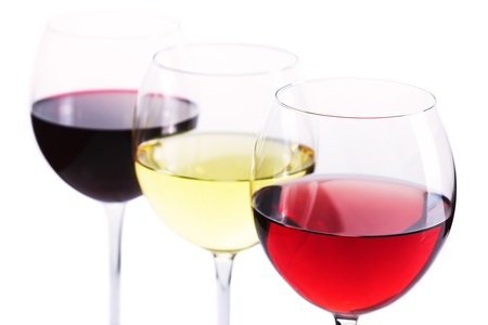 Assortment of wine - red, white and rose wine over white background photo