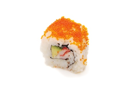 roll bar: California roll. Isolated, over white background, close-up