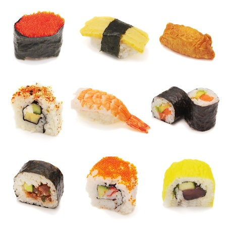 varieties: Sushi collage. Variety of sushi in collage. Nigiri, tobiko, tamago, uramaki, futomaki, maki, inari. Over white, isolated.