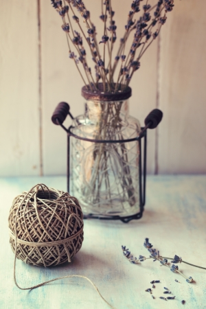 Twine ball with dry lavender. Retro style. photo