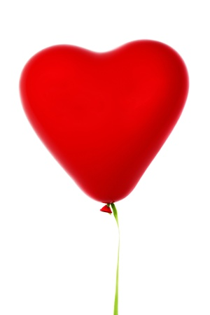 Red heart shaped ballon. Isolated, over white.