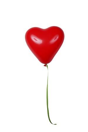 Red heart shaped ballon. Isoliert �ber wei�.