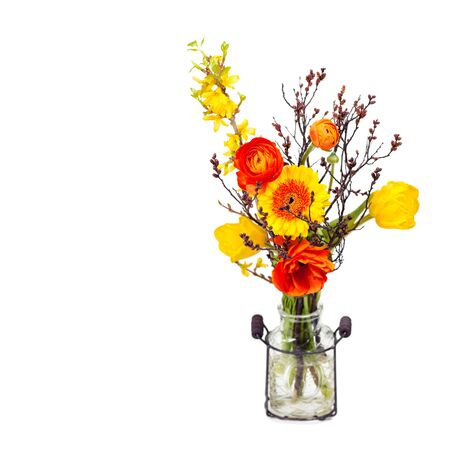 Beautiful composition of yellow, red, and orange flowers in vintage french style photo