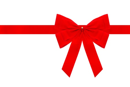 red velvet bow with ribbon. Isolated on white. Holiday background, gift card concept photo