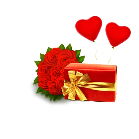 bouquet of vivid red roses with red gift box on a white background with copy space photo