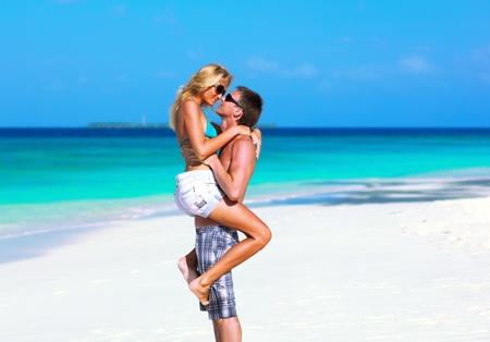 honeymooners: Couple in love on Maldives