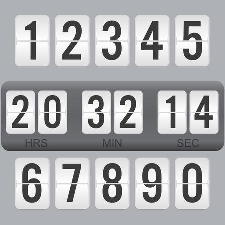 Flip Countdown timer vector klok teller. Flat aftellen dag vector uithangbord.
