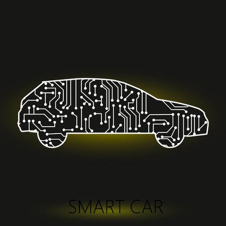 Vehículo de coche con placa de circuito sobre fondo negro. concepto inteligente y de tecnología.