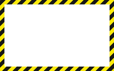 警告長方形の背景、黄色のストライプし、注意の潜在的な危険性に警告、斜めに黒のストライプ ベクトル テンプレート記号境界線黄色と黒色建設警告国境。 ベクターイラストレーション