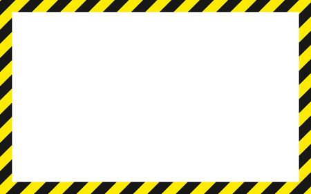 warning striped rectangular background, yellow and black stripes on the diagonal, warning to be careful potential danger vector template sign border yellow and black color Construction warning border.