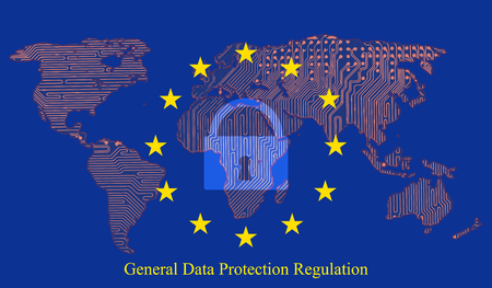 General data protection regulation (GDPR) with padlock against the background. Printed circuit board of the Earth map.