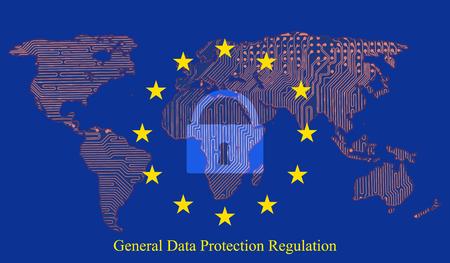 Regulación de protección de datos generales (GDPR) con candado contra el fondo. Placa de circuito impreso del mapa de la Tierra.