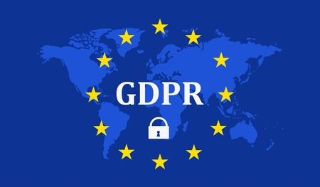 Regulamento geral de proteção de dados (GDPR) com cadeado no contexto da ilustração do mapa da terra Foto de archivo - 89976872